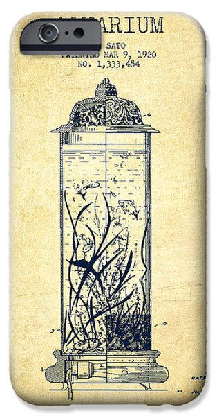 Aquarium Fish iPhone Cases - 1902 Aquarium Patent - Vintage iPhone Case by Aged Pixel