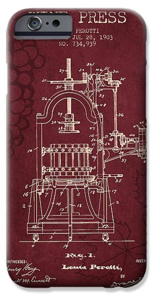 Wine Bottle iPhone Cases - 1903 Wine Press Patent - Red Wine iPhone Case by Aged Pixel