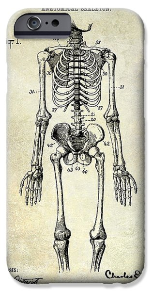 Anatomical iPhone Cases - 1911 Anatomical Skeleton Patent iPhone Case by Jon Neidert