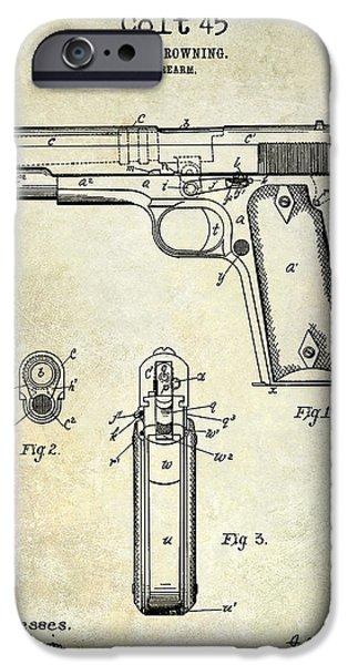 Colt 45 iPhone Cases - 1911 Colt 45 Firearm Patent iPhone Case by Jon Neidert