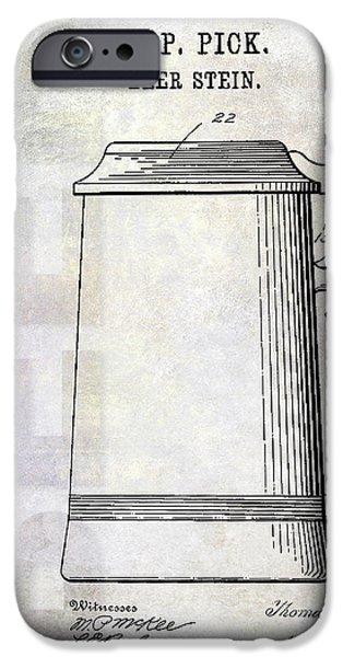 Stein iPhone Cases - 1914 Beer Stein Patent iPhone Case by Jon Neidert