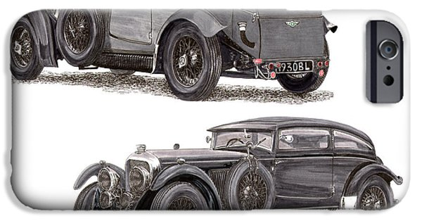 Figure iPhone Cases - 1930 Bentley Blue Train Coupe iPhone Case by Jack Pumphrey