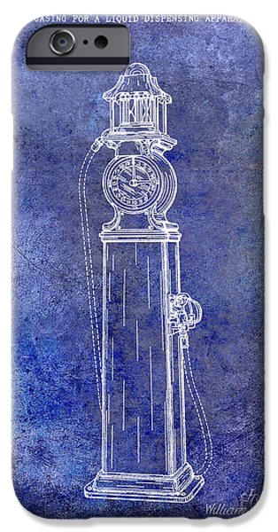 Griffin iPhone Cases - 1930 Gas Pump Patent Blue iPhone Case by Jon Neidert