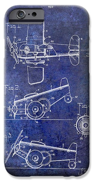 Vintage Plane iPhone Cases - 1931 Toy Airplane Patent iPhone Case by Jon Neidert