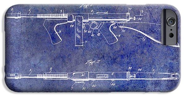 Ammunition iPhone Cases - 1936 Gun Patent Blue iPhone Case by Jon Neidert