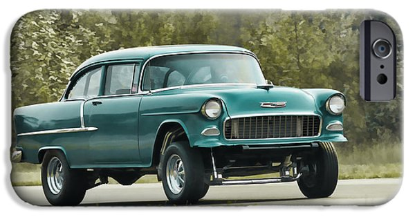 Racing iPhone Cases - 1955 Chevrolet Gasser iPhone Case by Steve McKinzie