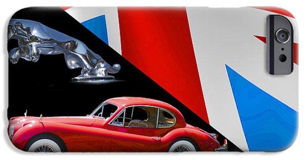Mascots Mixed Media iPhone Cases - 1956 Jaguar X K 140 M C iPhone Case by Jack Pumphrey