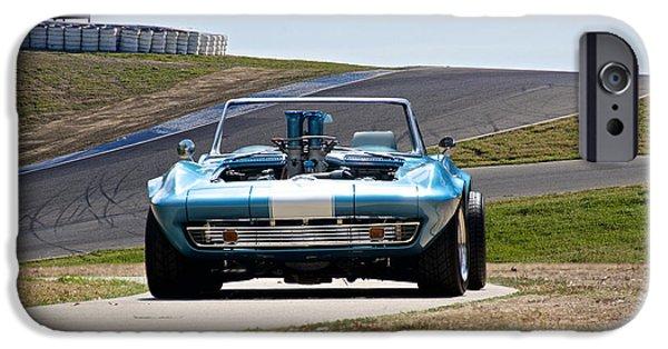 Circuit iPhone Cases - 1965 Corvette Convertible iPhone Case by Dave Koontz