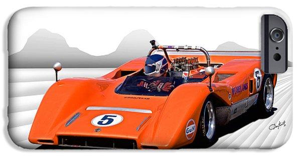 Circuit iPhone Cases - 1969 McLaren MC8 CanAm Racecar iPhone Case by Dave Koontz