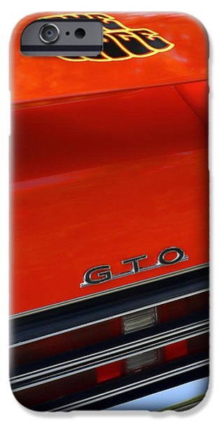 Indy Car iPhone Cases - 1969 Pontiac GTO The Judge iPhone Case by Gordon Dean II