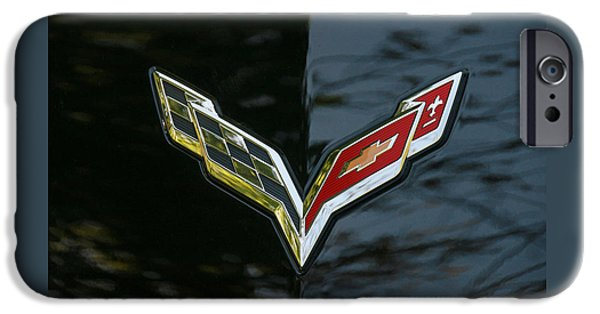 Industry iPhone Cases - 2015 Chevy Corvette Stingray Emblem iPhone Case by Allen Beatty