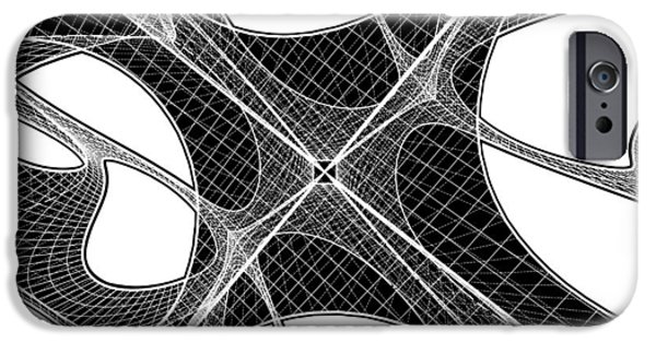 Cyberspace iPhone Cases - 3D Geometric Organic Wireframe Shape iPhone Case by Nenad  Cerovic