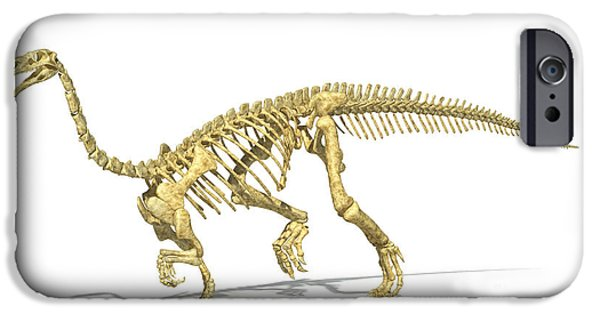Triassic iPhone Cases - 3d Rendering Of A Plateosaurus Dinosaur iPhone Case by Leonello Calvetti