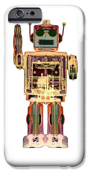 Best Sellers -  - Toy Store iPhone Cases - 4N0D3 X-ray Robot Art iPhone Case by Roy Livingston