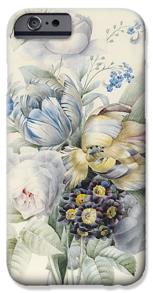 Flora Drawings iPhone Cases - A Bunch of Flowers iPhone Case by Pierre Joseph Redoute