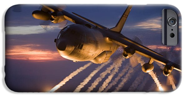 Color Image iPhone Cases - A C-130 Hercules Releases Flares iPhone Case by HIGH-G Productions
