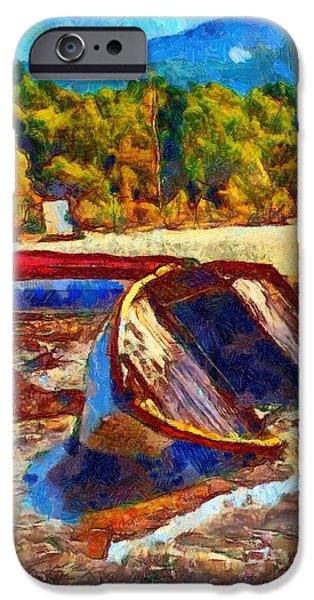 Beach Landscape iPhone Cases - A digitally constructed painting of a beached fishing boat in Van Gogh style iPhone Case by Ken Biggs