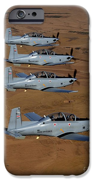 Iraq iPhone Cases - A Formation Of Iraqi Air Force T-6 iPhone Case by Stocktrek Images