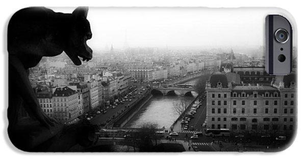 White Sculptures iPhone Cases - A Gargoyles View Of Paris iPhone Case by Lilien