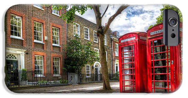London iPhone Cases - A Pair of Red Phone Booths iPhone Case by Tim Stanley