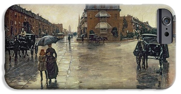 Childe iPhone Cases - A Rainy Day in Boston iPhone Case by Childe Hassam