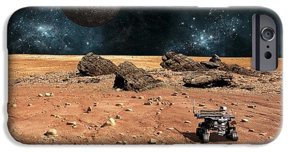 Moonscape iPhone Cases - A Robotic Rover Explores An Alien World iPhone Case by Marc Ward