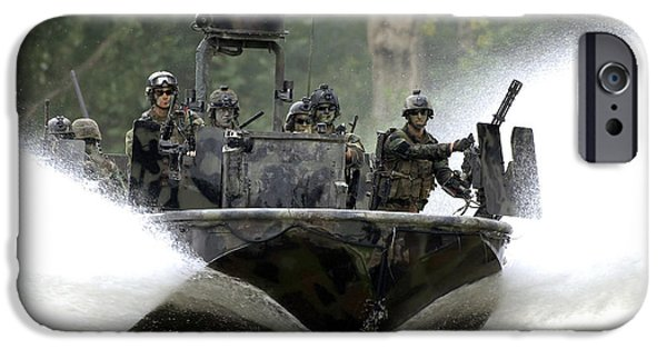 High Speed Photography iPhone Cases - A Special Operations Craft Riverine iPhone Case by Stocktrek Images
