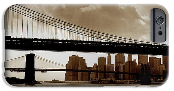 Twin Towers Nyc iPhone Cases - A Tale of Two Bridges iPhone Case by Joann Vitali