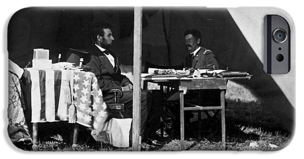 President iPhone Cases - Lincoln and McClellan at Antietam  iPhone Case by Jim Cox