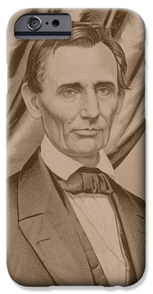 War iPhone Cases - Abraham Lincoln Circa 1860  iPhone Case by War Is Hell Store