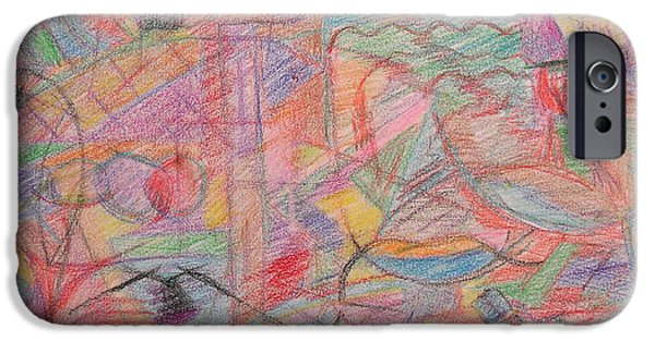 Crayons Drawings iPhone Cases - Abstract 108 iPhone Case by Patrick J Murphy