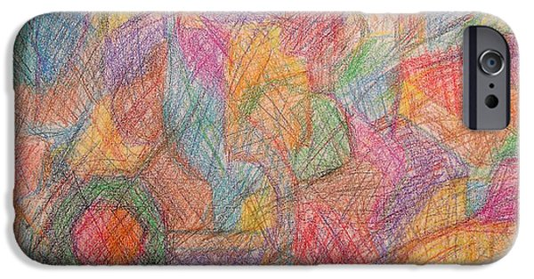 Crayons Drawings iPhone Cases - Abstract 801 iPhone Case by Patrick J Murphy