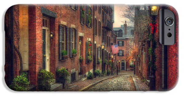 Autumn Scenes Photographs iPhone Cases - Acorn Street - Boston iPhone Case by Joann Vitali
