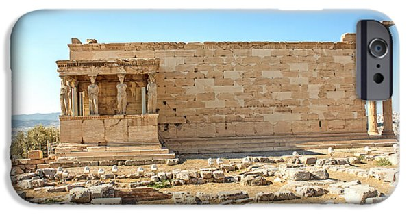 Ruins Pyrography iPhone Cases - Acropolis Of Athens iPhone Case by Fineart Photographs