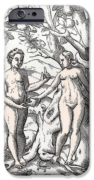 Switzerland Drawings iPhone Cases - Adam And Eve In The Garden Of Eden From iPhone Case by Ken Welsh