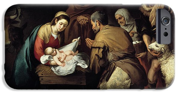 Jesus Drawings iPhone Cases - Adoration of the Shepherds iPhone Case by Celestial Images