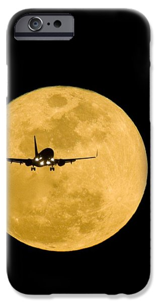 Cut-outs iPhone Cases - Aeroplane Silhouetted Against A Full Moon iPhone Case by David Nunuk