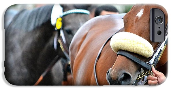 Horse Racing Photographs iPhone Cases - After the Race iPhone Case by Fraida Gutovich