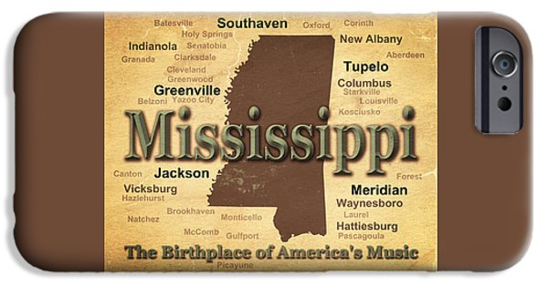 Hattiesburg iPhone Cases - Aged Mississippi State Pride Map Silhouette  iPhone Case by Keith Webber Jr