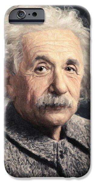 Mechanics Paintings iPhone Cases - Albert Einstein iPhone Case by Taylan Soyturk