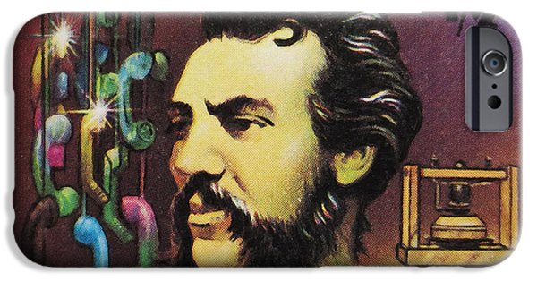 Mechanism Paintings iPhone Cases - Alexander Graham Bell  iPhone Case by Lanjee Chee
