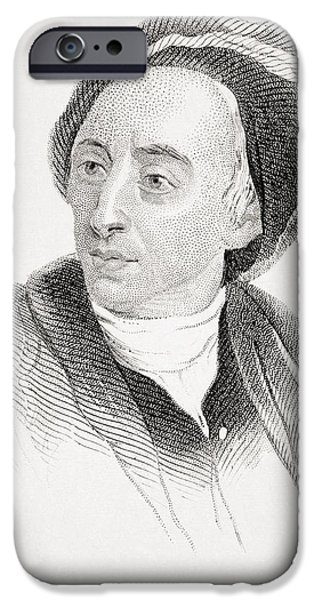 Pope Drawings iPhone Cases - Alexander Pope 1688-1744 English Poet iPhone Case by Ken Welsh