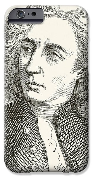 Pope Drawings iPhone Cases - Alexander Pope 1688 To 1744. English iPhone Case by Ken Welsh