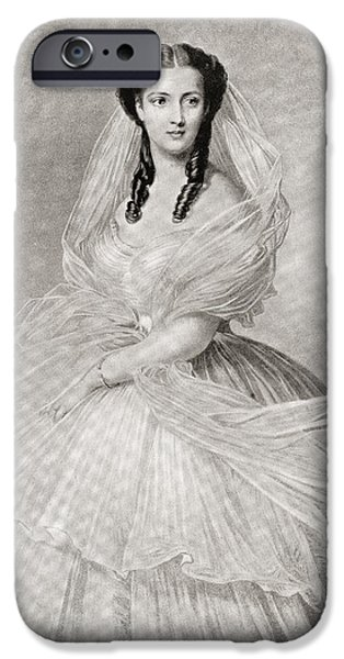 Charlotte Drawings iPhone Cases - Alexandra Of Denmark, 1844 iPhone Case by Vintage Design Pics