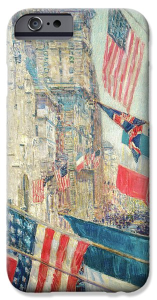 Wwi Paintings iPhone Cases - Allies Day - May 1917 iPhone Case by Childe Hassam