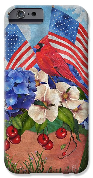 4th July Paintings iPhone Cases - America the Beautiful-JP3210 iPhone Case by Jean Plout