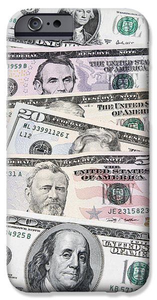 Money iPhone Cases - American banknotes iPhone Case by Les Cunliffe