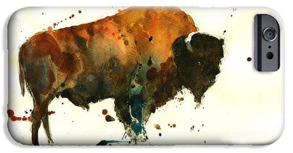 Original Watercolor iPhone Cases - American buffalo watercolor iPhone Case by Juan  Bosco
