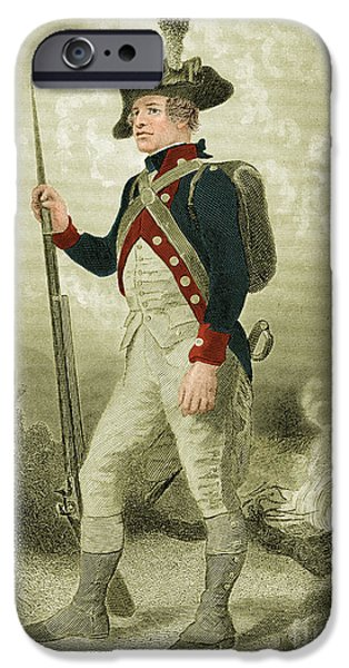 Color Enhanced iPhone Cases - American Continental Soldier iPhone Case by Photo Researchers