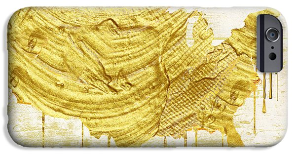 Usa Paintings iPhone Cases - Gold American Map iPhone Case by Mindy Sommers